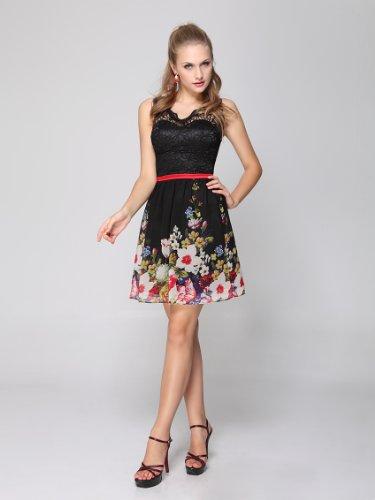 Ever Pretty Robe de cocktail a fleur mousseline de style Empire Noir 03662 Noir