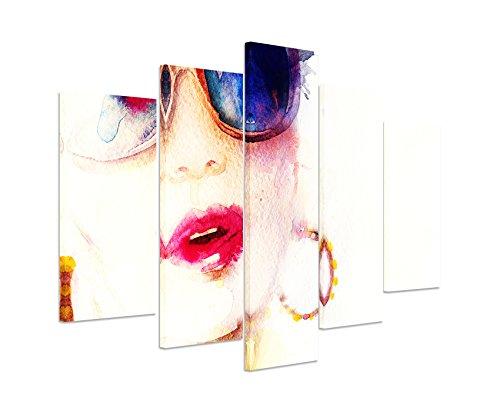 Bild Bilder 5 teilig gesamt 150x100cm Bild - Frau mit Sonnenbrille Kreolen und Kussmund