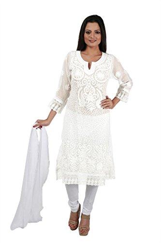 Indiankalakari.com Lucknowi Chikankari Embroidery Georgette Kurti (Medium)