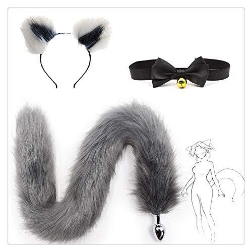 Z-one 1 Pop-Up Pretend Fox Cat Furry Stirnband und besonders Lange Fox/Dog Long Tail mit Bell Tie Lover Geschenke Kost¨¹m (Wei? und Grau)