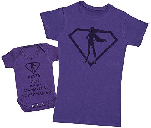 Zarlivia Clothing Reste Zen mais ma Maman est Supermaman - Ensemble Mère Bébé Cadeau - Femme T Shirt & bébé Bodys - Violet - M & 3-6 Mois