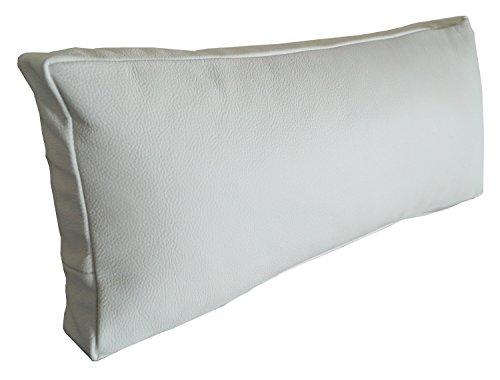Weiß Echt Leder Nackenkissen Lederkissen Sofa Dekokissen Rindsleder Kissen Kopfstützen Kopfkissen Zierkissen (22 x 70 cm)
