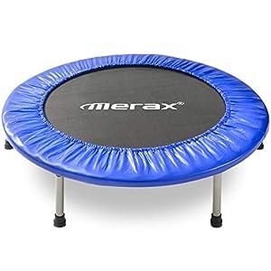 Merax Trampolin Indoor Fitness Trampoline Kinder, TÜV-Geprüft, 5 Fach Höhenverstellbarem Haltegriff & Randabdeckung, Klappbare Minitrampolin für jumpsport Jumping Fitness bis 100kg (Blau 2)