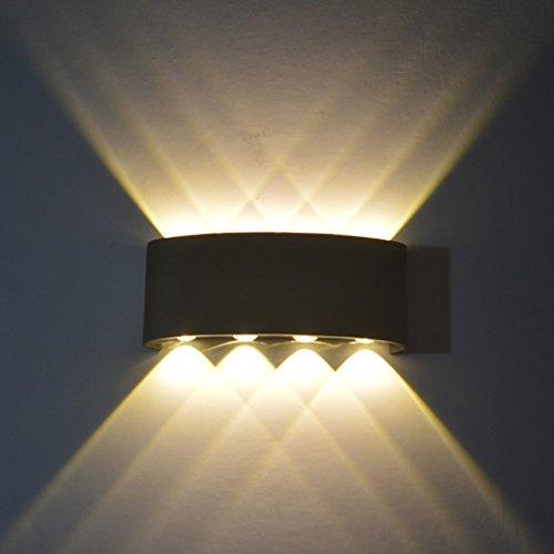 rn,8W Led Wandlampe Aluminium Leuchten Wandlicht Wasserdichte IP65 Design Aussenleuchte Up Down Wandbeleuchtung 3000K Warmweiß (Schwarz) (Up-leuchten)