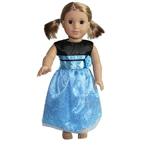 18 Doll Black & Blue Formal Party Dress by Storybook Wishes