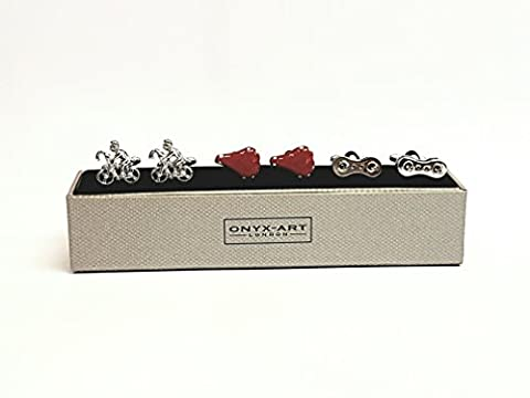 Novelty Three Pair Set Of Cyclist, Chain Link & Red Saddle Cufflinks In Polished Stainless Steel By Onyx-Art - The Ideal Gift For All Cyclists (CKS005)