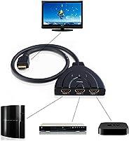 مفتاح تحويل موزع بثلاثة منافذ اتش دي ام اي 1080 بي لجهاز التلفزيون عالي الوضوح وقارئ اقراص الدي في دي وXbox 36