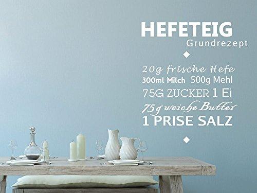 Wandtattoo Klebefolie Wandaufkleber Rezepte für Küche Hefeteig Grundrezept (103x90cm // 054 türkis)