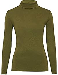 Mujer Polo Roll Cuello dehn Bar manga larga Jersey de cuello alto Sudadera tamaño 34–52 caqui