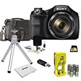 Sony Cyber-Shot DSC-H300 Digital Camera, 20.1MP, 35x Optical Zoom, Black - Bundle with 32GB SDHC Card, Camera Case, Cleaning Kit, SD Card Reader, Table Top Tripod, 12 Card Memory Wallet, and More