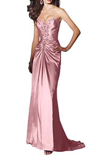 Ivydressing Damen Sexuell Herz-Ausschnitt Promkleid Charmeuse Lang Festkleid Abendkleider Rosa