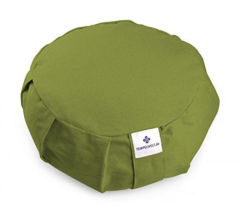 Yogakissen Meditationskissen BODHI rund 36x15 cm, Bezug aus Baumwolle Leinen oliv grün, Füllung EPS Styropor Perlen Allergiker geeignet, Kissen Zafu Yoga (Perlen Bolster Kissen)
