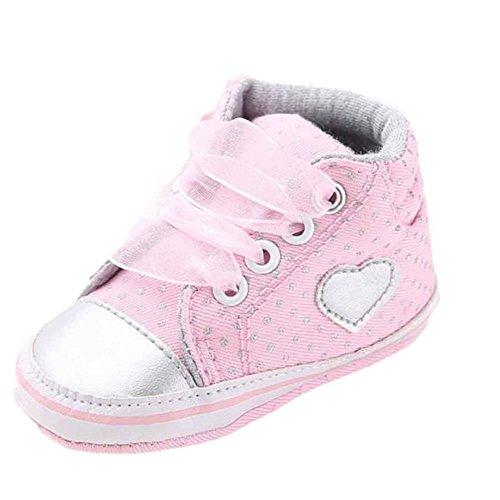 cdd14f471 Fossen Recién nacido Zapatos Primeros Pasos Bebe Niña Forma de corazón  Antideslizante Suela Blanda Zapatos (