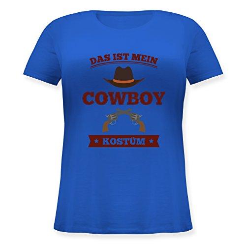 (Karneval & Fasching - Das ist Mein Cowboy Kostüm - M (46) - Blau - JHK601 - Lockeres Damen-Shirt in großen Größen mit Rundhalsausschnitt)