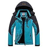 Panegy - Chaqueta Deportiva para Esquí Ski con Capucha de Lana de Mujer Chaqueta Capa Impermeable a prueba a Viento de Invierno - Azul Ligero - Talla XL