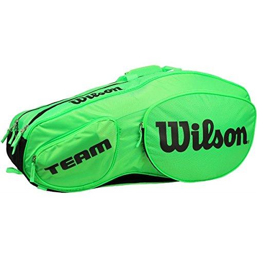 Wilson Damen/Herren Tennis-Tasche, für Profispieler, Team III 12 PK, Einheitsgröße, grün/schwarz, WRZ854812 -