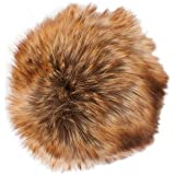 Pompón piel sintética–Color Marrón de canela 026–Diámetro 10Cm–para individuales Designs.