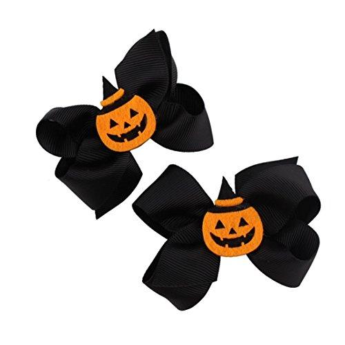 ZahuihuiM , Mode Niedlich Halloween Kürbis Bowknot Haarnadel Kleinkind Baby Kinder Mädchen Festival Kopfschmuck Haarspange Haarschmuck Kopfschmuck(1 Paar) (A) (Engel Halloween Haar)