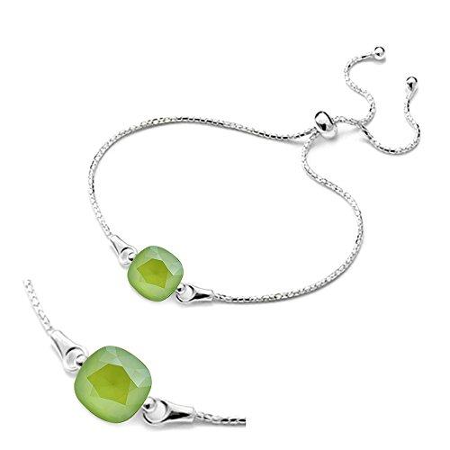 """Crystals & stones braccialetto regolabile """"square"""", in argento 925con swarovski® elements originali, splendido braccialetto da donna, con scatola per gioielli e argento, colore: lime, cod. 7"""