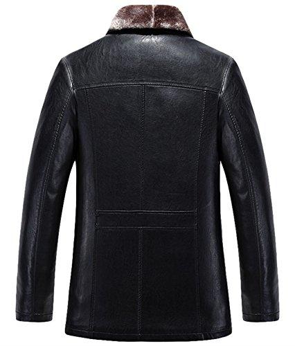 Hommes cuir hiver cuir veste Chaud Agneau La laine Doublure Noir