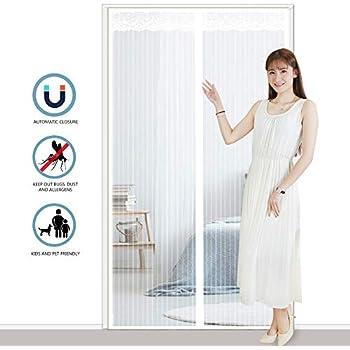 27x70inch for Le Salon//Porte Patio Rideau/magn/étique/pour/Portes MODKOY Moustiquaire Magn/étique Adsorption magn/étique Pliable Facile /à Installer Blanc 70x180cm