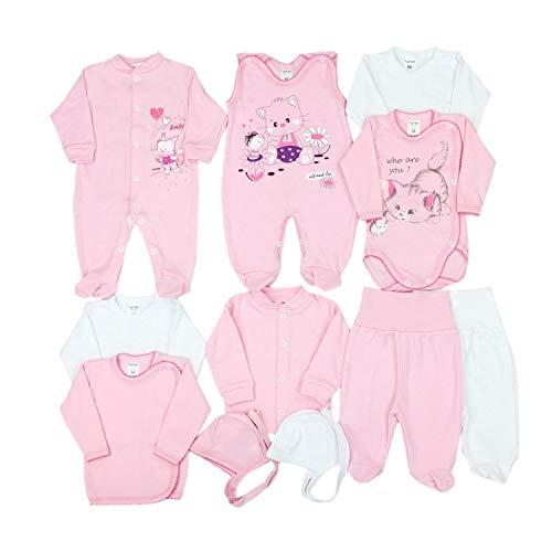 TupTam Unisex Baby Erstausstattung Bekleidungsset 11 teilig, Farbe: Rosa Kätzchen, Größe: 62