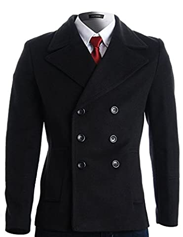FLATSEVEN Mens Winter Double Breasted Pea Coat Short Jacket (CT121) Black, L