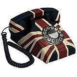 GPO Vintage - Teléfono fijo de estilo antiguo (botones a presión), diseño de bandera británica (importado)