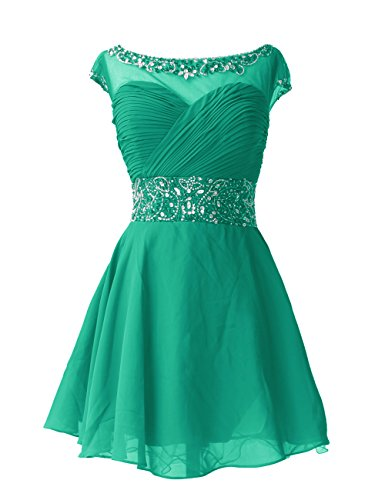 Dresstells , Forme princesse col ras du cou court/mini mousseline robe de cocktail avec emperler sequins Vert