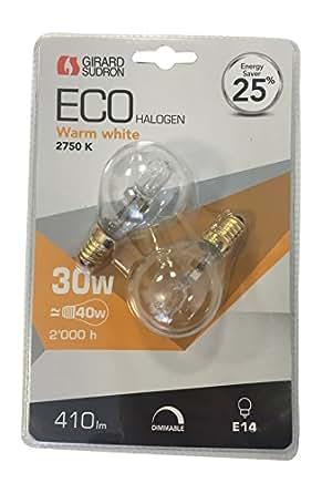 Girard-Sudron 163156 Eco Ampoule Halogène 2 Sphériques 2750K 30 W E14 240 V Lot de 5