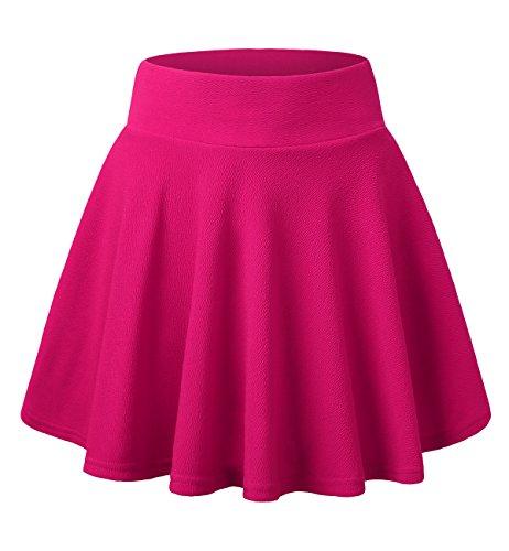 DJT FASHION Damen Basic Solide vielseitige Dehnbar Informell Mini Glocken Rosa Medium