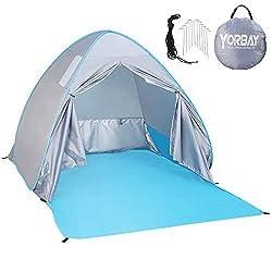 Yorbay Pop up Strandmuschel Stranzelt mit Reißverschlusstür und UV-Schutz 50+, mit Heringen und Tragetasche, für 2-3 Personen, für Familie, Strand, Garten, Camping, Outdoors