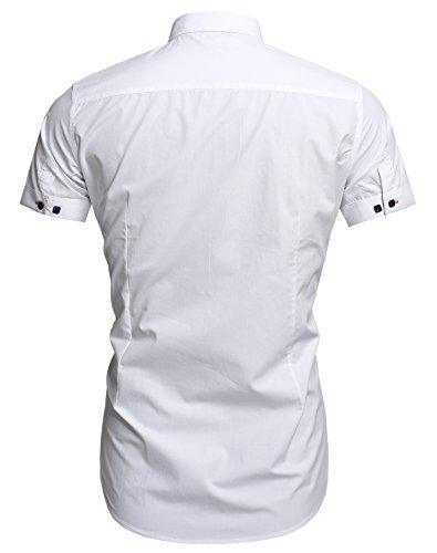 Aulei Herren Poloshirt Button-Down Kragen fashion casual T-Shirt Baumwolle bequem und trendig Weiß
