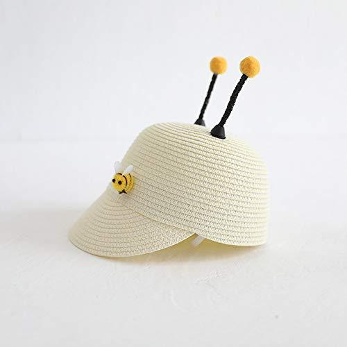 mlpnko Kinder Visier Jungen und Mädchen Strohhut Baby Hut super süß Sonnencreme Strand Sonnenmilch weiß 50cm (Sensei Kostüm Kind)