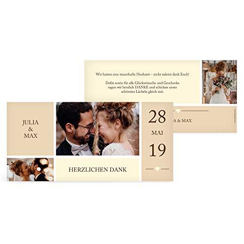 greetinks 30 x Dankeskarten zur Hochzeit 'Foto Liebe' in Beige | Personalisierte Danksagungskarten zum selbst Gestalten | 30 Stück Danksagung Karten