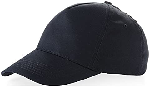 US BASIC 5 PANEL CHILDRENS BASEBALL CAP HAT - 13 COLOURS (NAVY BLUE)