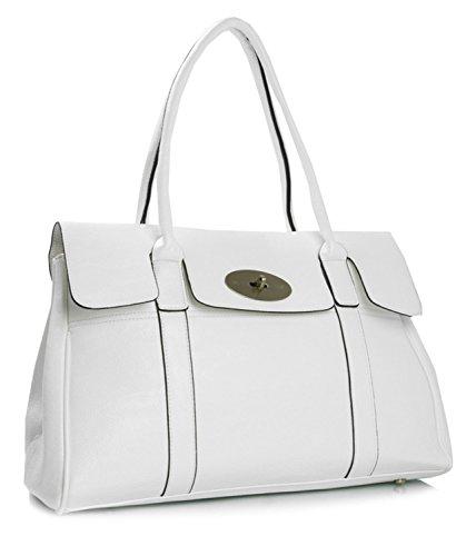 Big Handbag Shop Schultertasche aus Kunstleder mit Drehschloss, Designer-inspiriert Gr. Einheitsgröße, weiß -