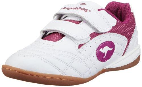 KangaROOS Backyard, Mädchen Sneakers, Weiß (wht/fuchsia 063), 28 EU (Schuhe Kinder Fuchsia Wildleder)