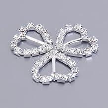 30pcs corazón + redondo + forma cuadrada cinta hebilla deslizadores para DIY artesanía boda tarjeta de invitación Favor