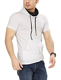 Tees Collection Men's Cotton Half Sleeve White Color Hooded T-Shirt