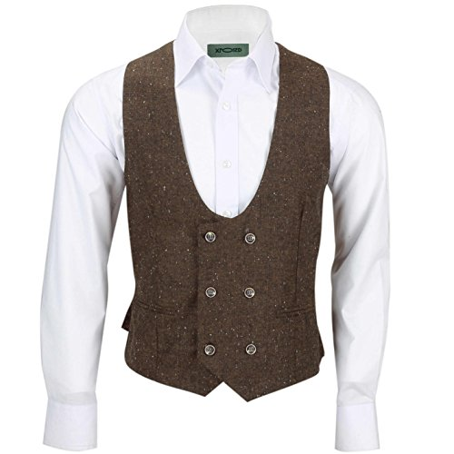 Xposed Herren Blazer Anzug * Waistcoat-U Neck-Brown