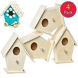 Baker Ross EC1235 Mini Holz, Vogelhäuser zum Bemalen und Dekorieren für Kinder, zum Basteln oder für Gartenprojekte, 4 Stück