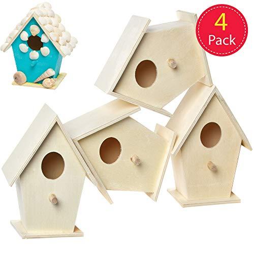 Baker Ross Mini-Vogelhäuser aus Holz - 12cm x 9.5cm - zum Bemalen und Dekorieren für Kinder - Frühlingsdeko - 4 Stück