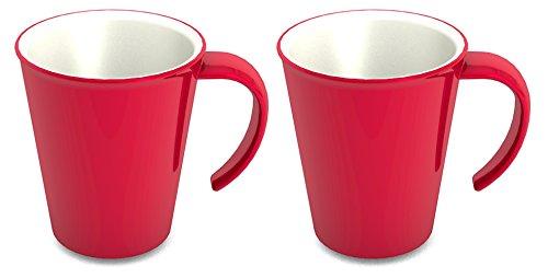 Ornamin Lot de 2 Tasses 300 ml Rouge (Modèle 1201) / mug à café, mug à thé, gobelet plastique réutilisable