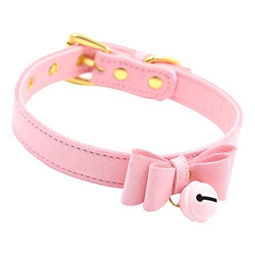 Baoblaze PU-Leder Bogen Halsband Halskette Halsband Mit Glocke Katze Cosplay Halskette - Rosa