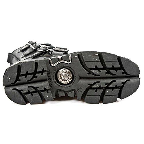 New Rock Unisex Schwarz Leder Motorradfahrer Jahrgang Rock Stiefel - M.591.S3 Schwarz LOrk6y