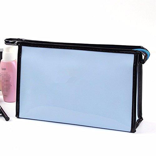 KAFEI Grande capacité de stockage cosmétique miroir brillant paquet femelle bleu,voyage