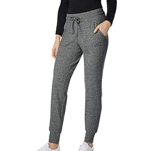 Femme Leggings Sport Taille Haute Crayon Pantalon Elastique Sexy Slim Gym Jogging Pas Cher A La Mode Casual Ample Respirant Yoga Pants (XL, Gris foncé)