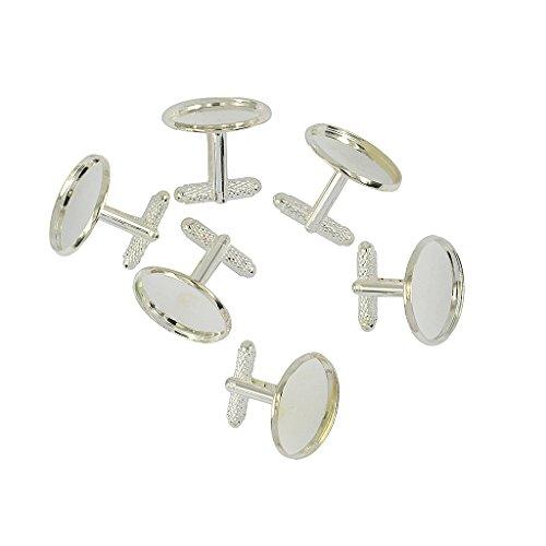 Sharplace 6x DIY Manschettenknöpfe Selbst Herstellen Herren Manschettenknöpfe -Silber