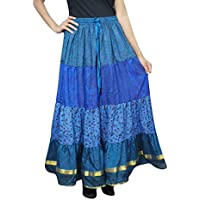 Womens Flare Skirt Silk Sari Blue Belly Dance Tiered Long Tiered Skirts L